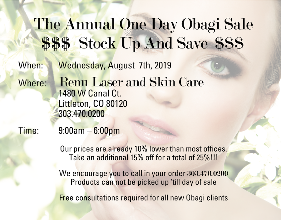 Join us for the The ANNUAL OBAGI SALE Wednesday, August 7th, 2019