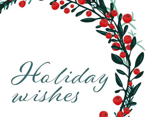 Holiday wishes with sprig of cranberries