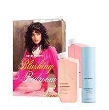Image of box set with Plumping hair products placed separately in front of box