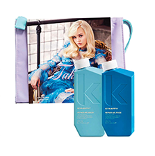 Image of box set with Restore Me hair products placed separately in front of box